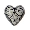 SS.925 Bead Heart Swirls 19mm